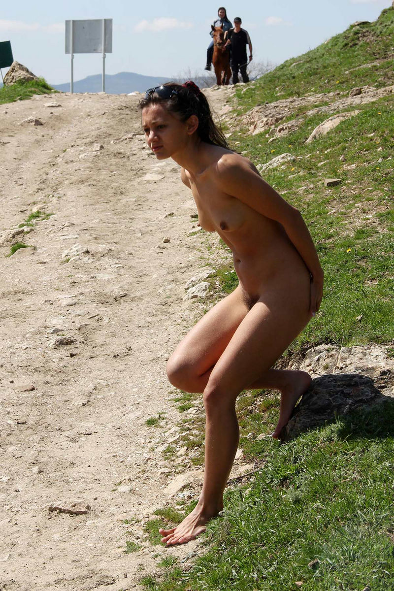 Naked girl with horse