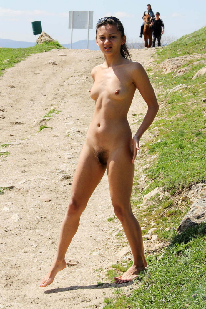Hairy Teen Sima A Posing Naked On Horse Trail  Russian