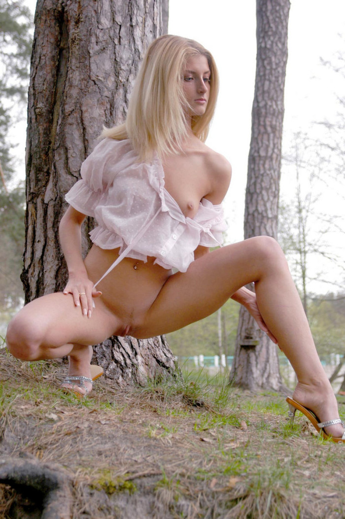 blue eyed blonde in a forest lake russian sexy girls