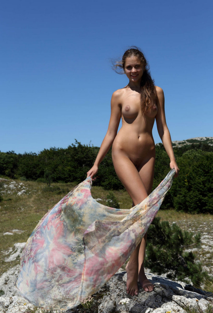 Young naked waitress at a roadside cafe