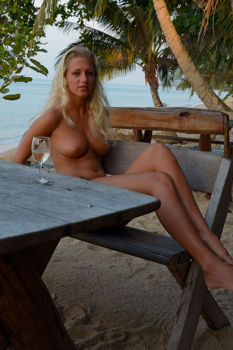 Hot Blonde Teen Drinks Champagne At The Beach Cafe With No -5076