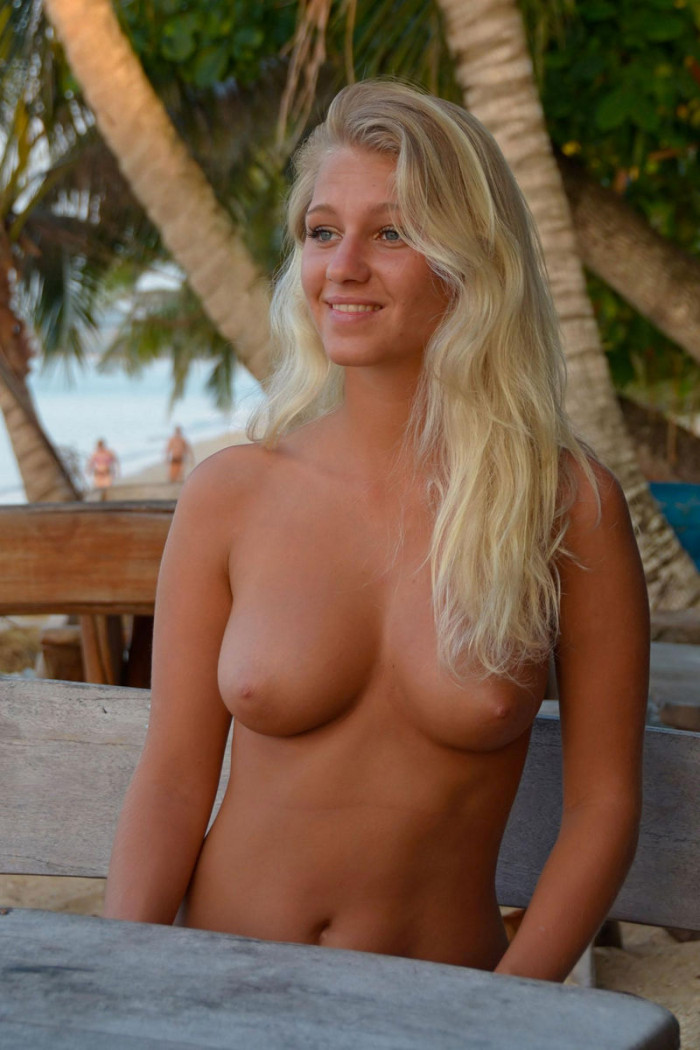 Hot Blonde Teen Drinks Champagne At The Beach Cafe With No -9868