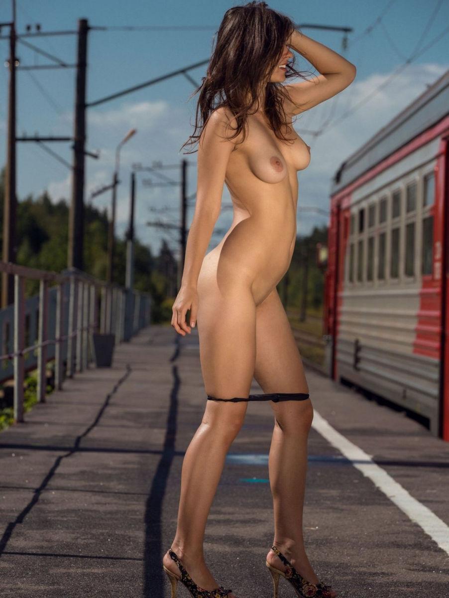 Girl stripping on train
