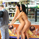 Two hot amateur brunette girls came to the shop with no clothes