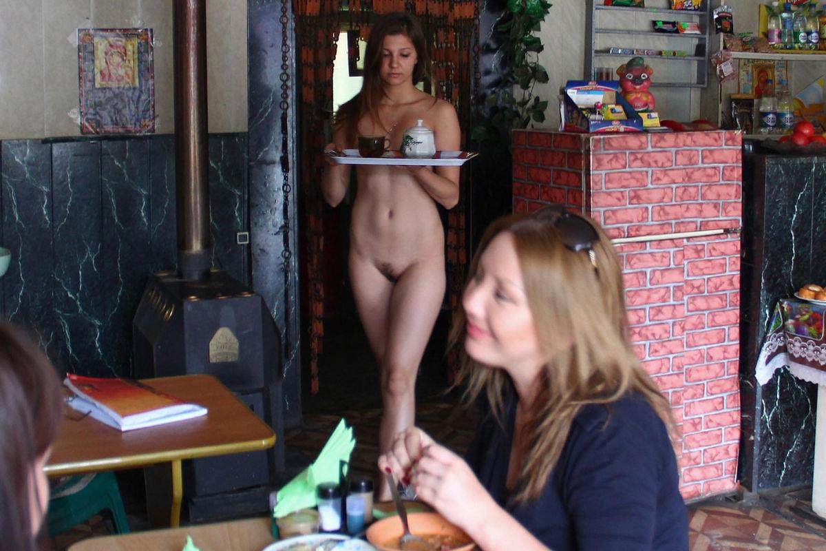 Naked waitress
