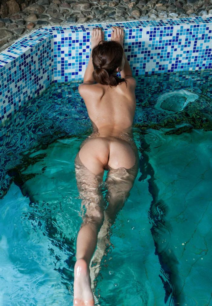 Naked girls in pool