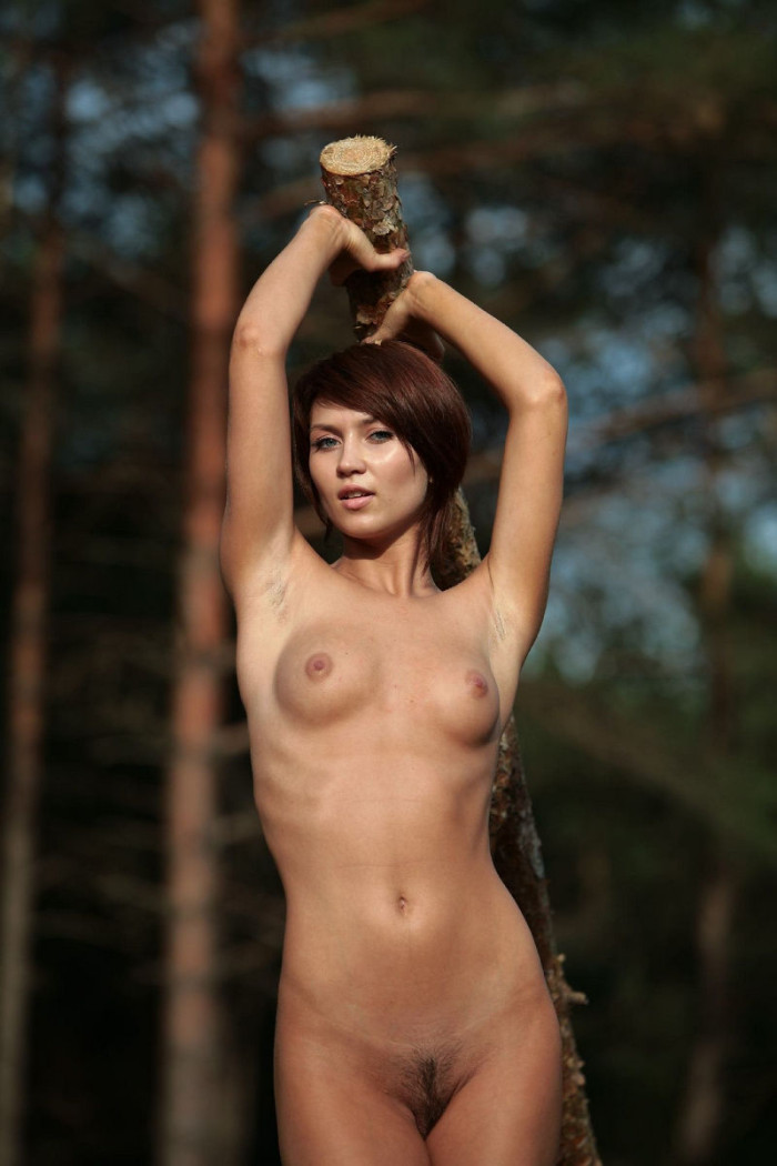 Sexy Brunette With Very Beautiful Body At Forest  Russian -6765