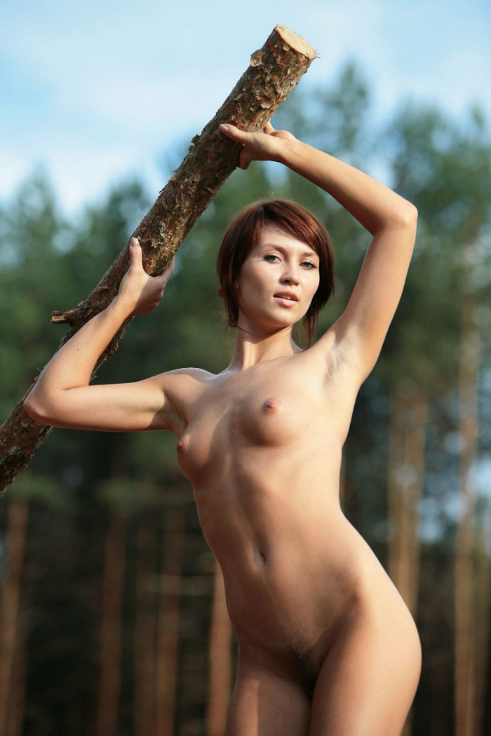 Sexy Brunette With Very Beautiful Body At Forest  Russian -1966