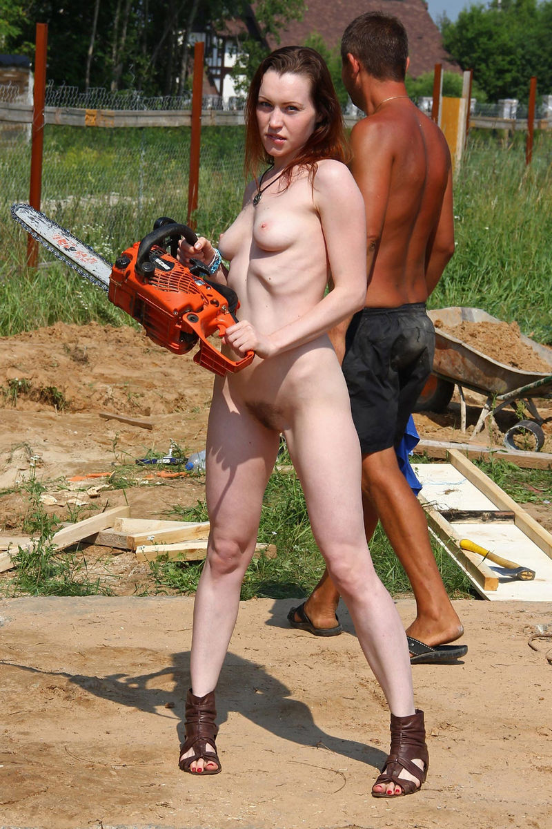 Naked Tamara D Helping On A Construction Site  Russian -3718