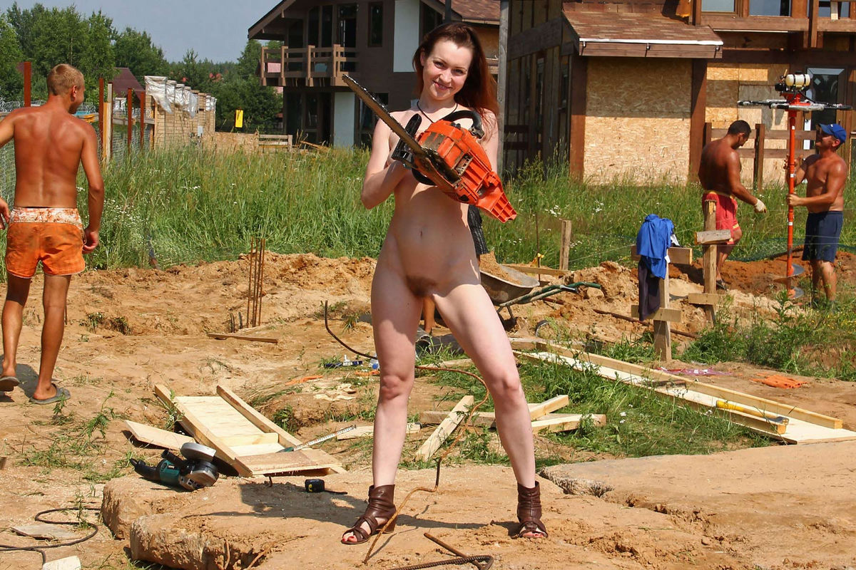 Naked Tamara D Helping On A Construction Site  Russian -1329