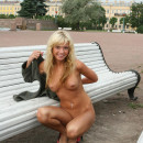 Blonde Maria Leonova with gorgeous body at city center