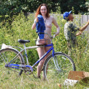 Naked Tamara D on bycicle
