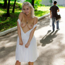 Blonde in only one white dress loves to flash at public places