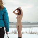 Naked girl Alisa H sledding