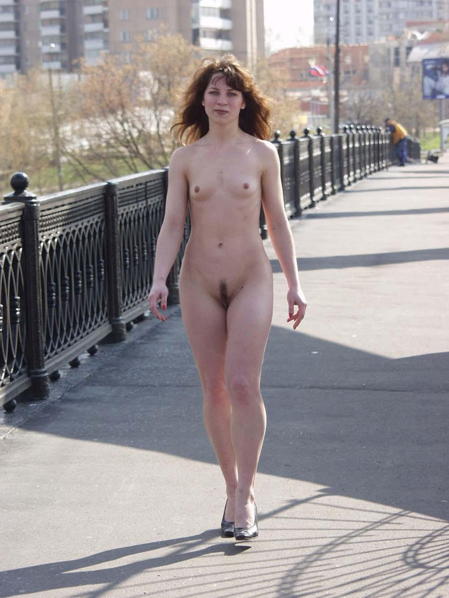 Flat-Chested Olga Posing Naked On The Bridge  Russian -2833