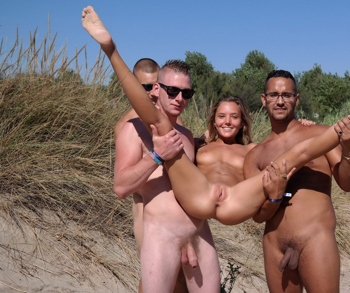 With beach nude mixed couple erection