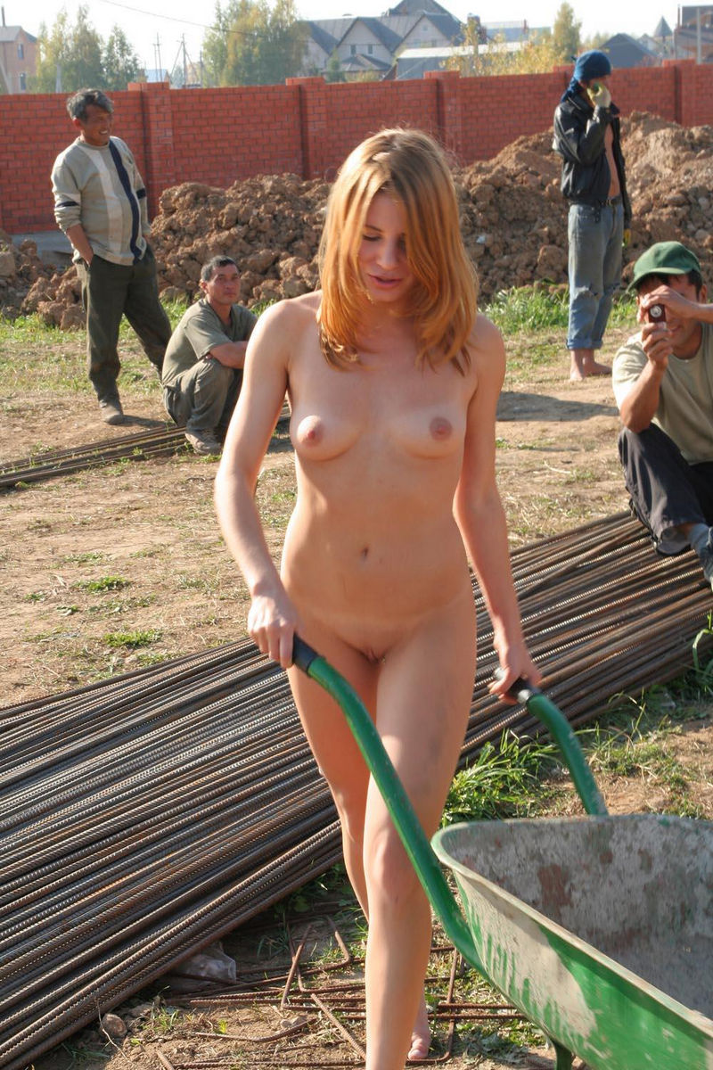 nude female construction worke