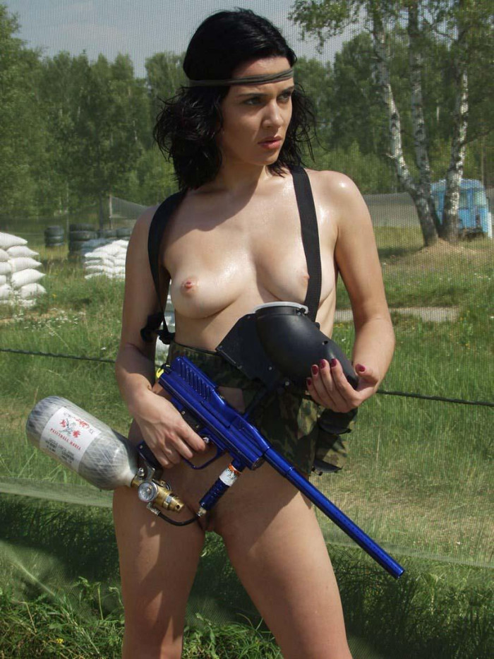 Nude girls with paintball guns