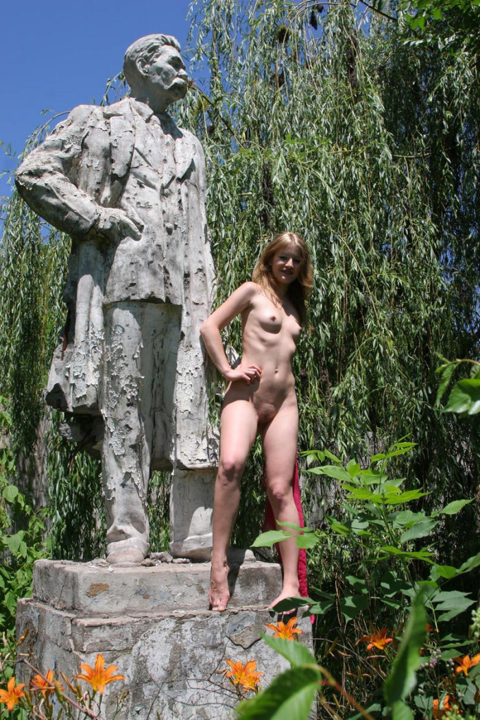 Naked blonde at Moscow tourist street