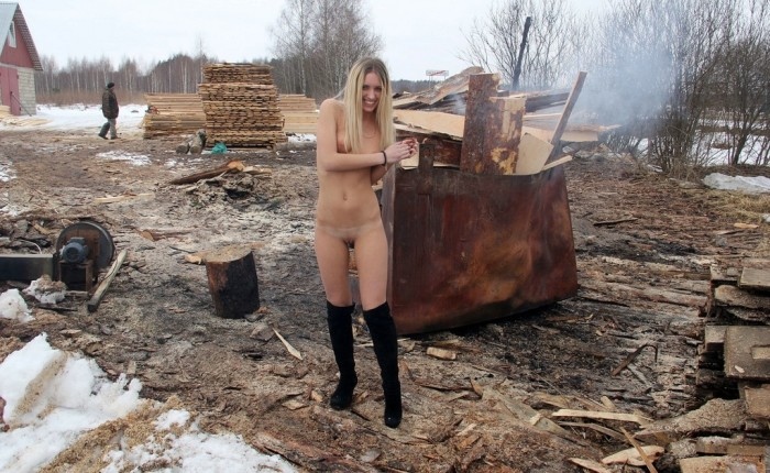 Naked Blonde Girl At The Sawmill  Russian Sexy Girls-2502