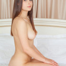 Brunette Marlina with big ass in white bed