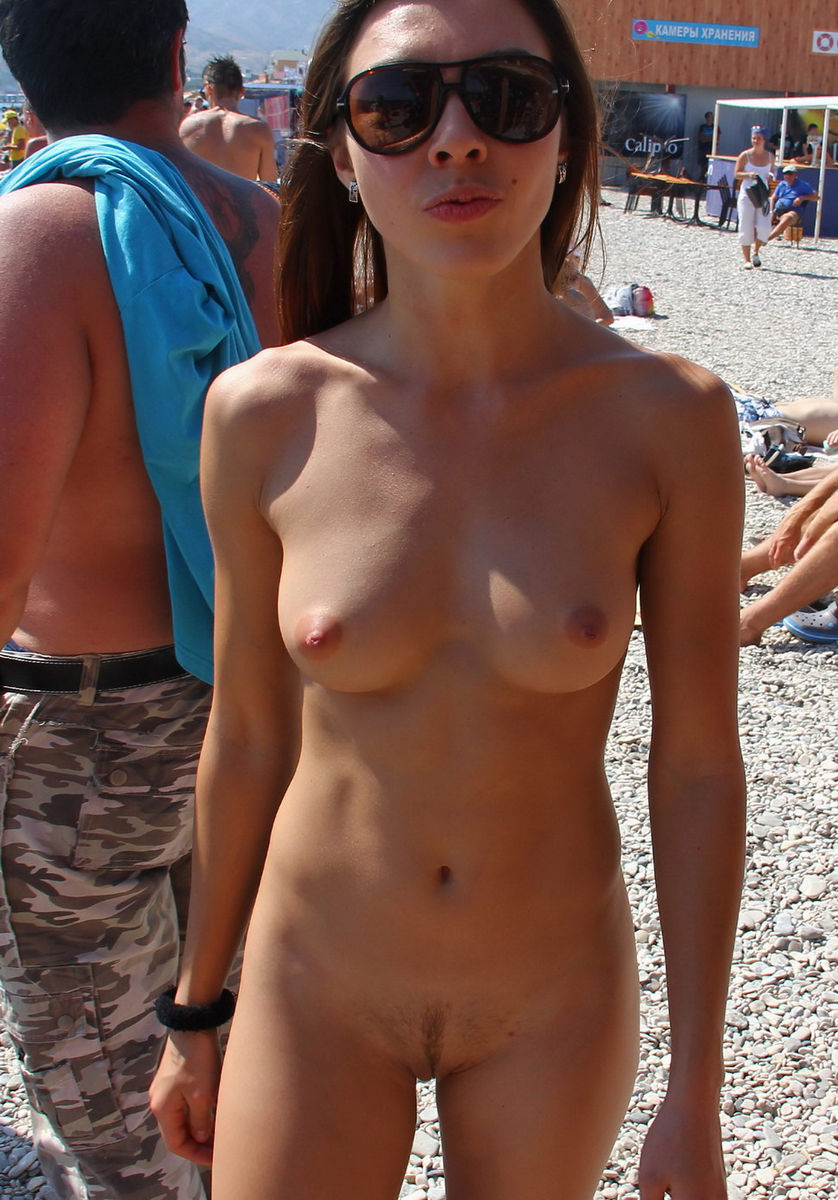 Hot girl naked in public