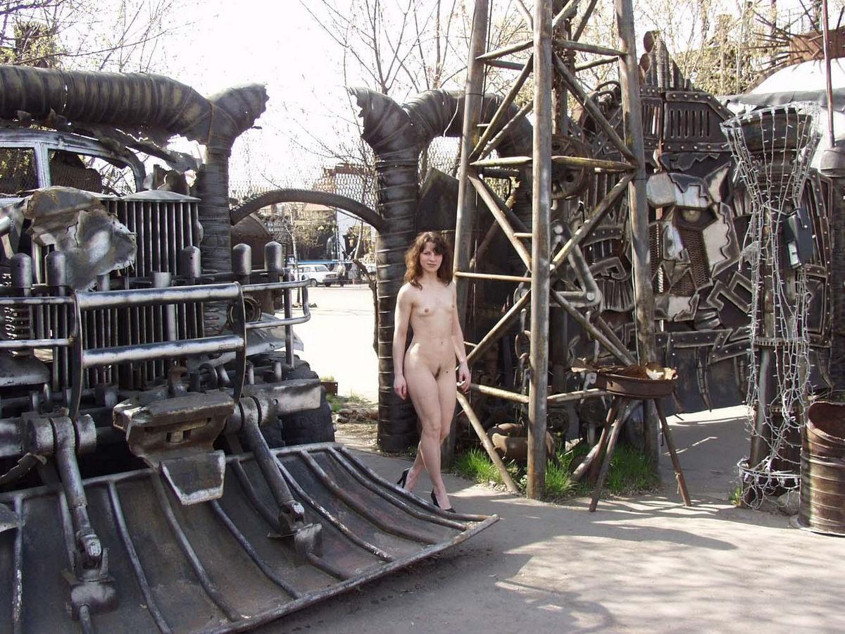 Naked Flat Girl At Bikers Bar Entrance  Russian Sexy Girls-9694