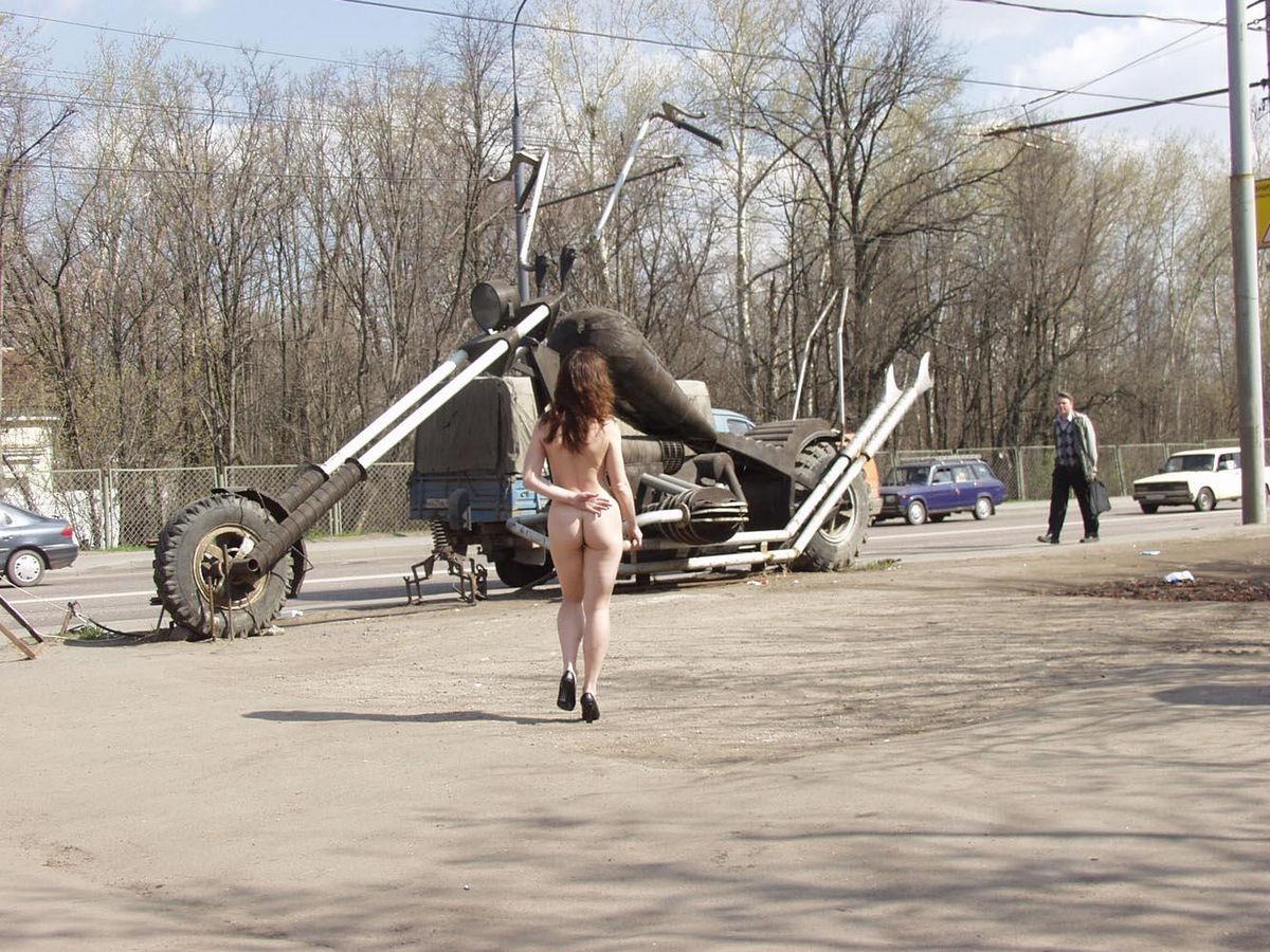 Naked Flat Girl At Bikers Bar Entrance  Russian Sexy Girls-3548