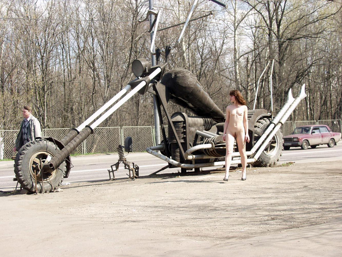 Naked Flat Girl At Bikers Bar Entrance  Russian Sexy Girls-8028