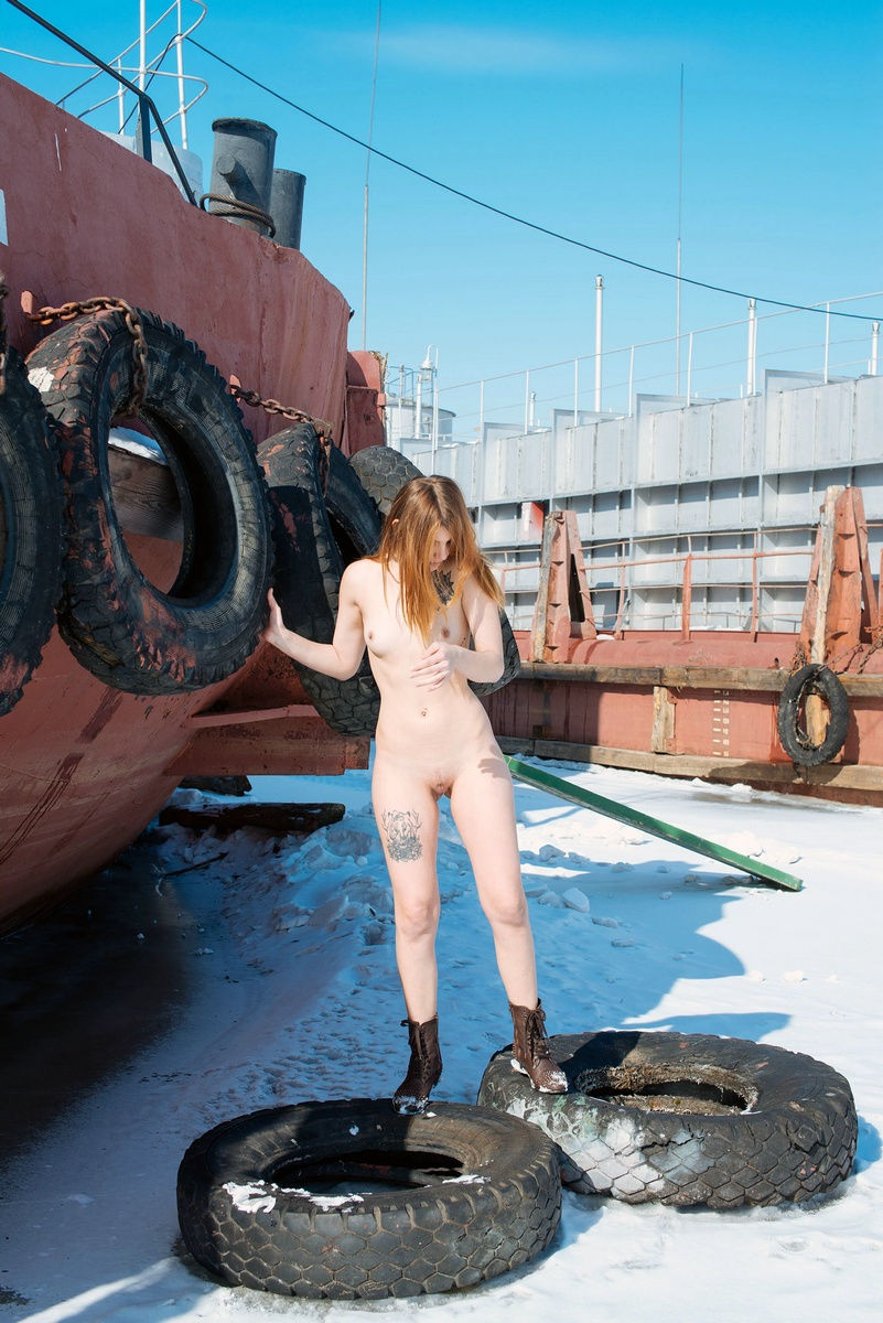 Sexy Tattooed Girl At Old Boats On Frozen River  Russian Sexy Girls-4477