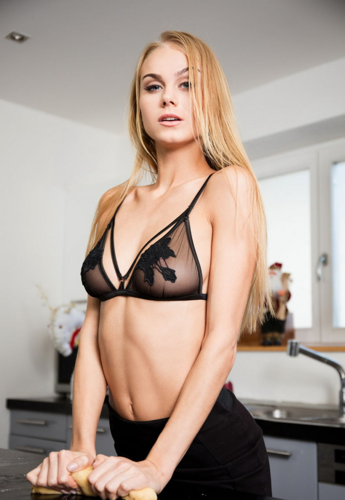 gorgeous nancy a shows her body in black kitchen russian