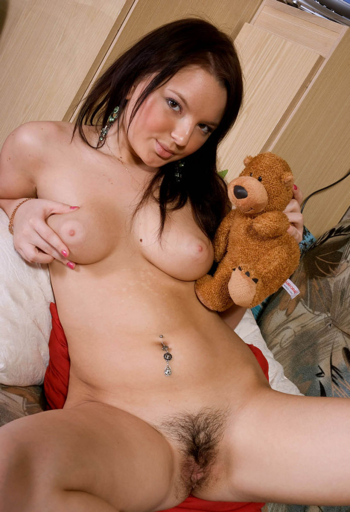 Excellent Russian girl with teddy bear