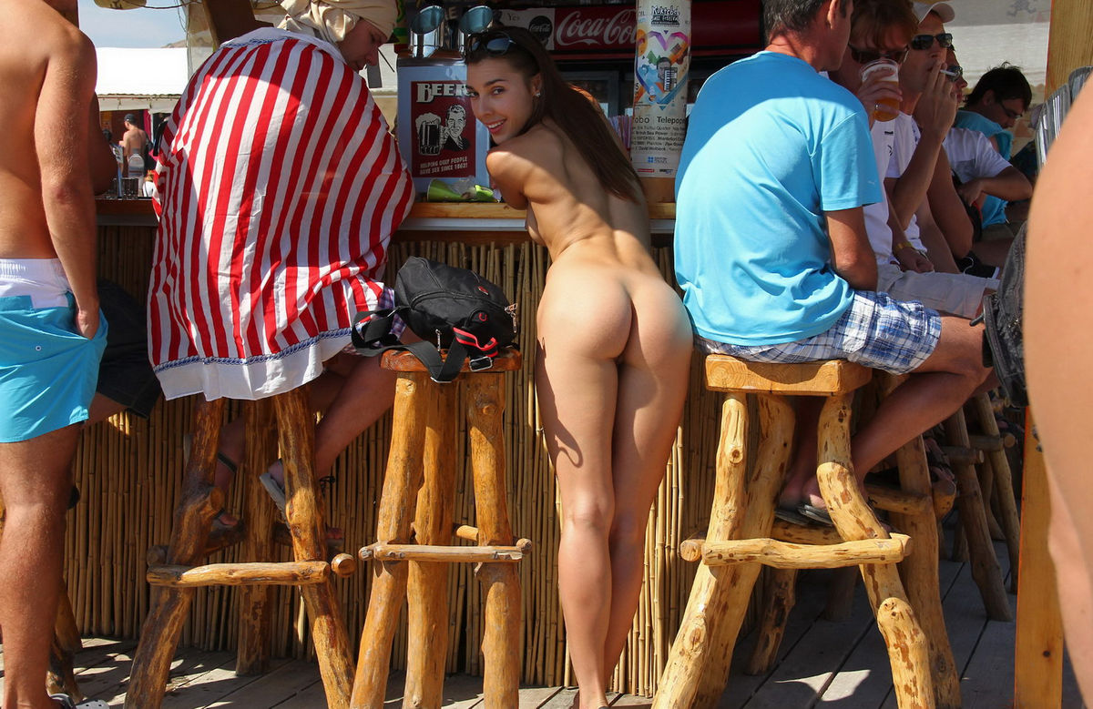 Naked Nudist Babe Drinks Some Tekila At Public Beach Bar 20 Photos