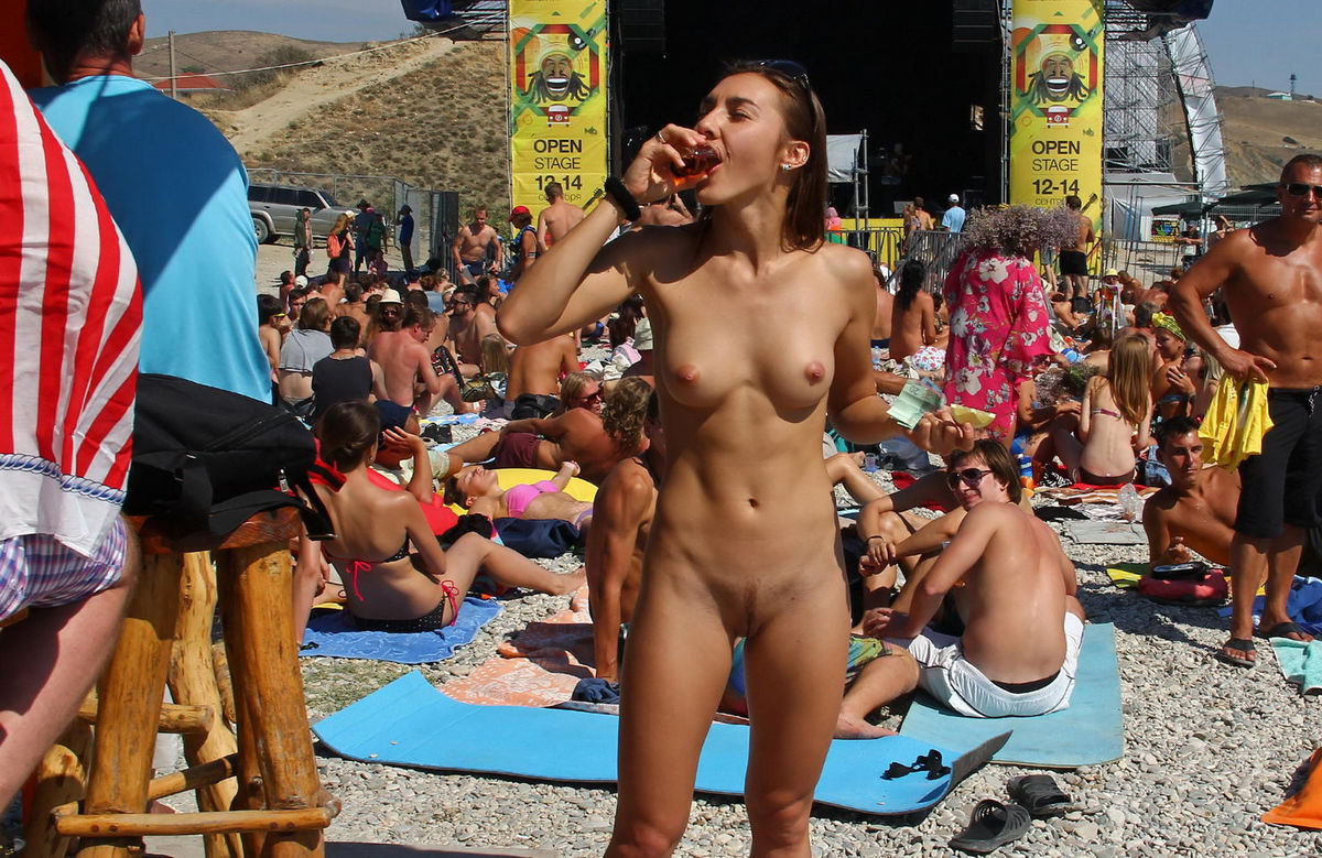 Naked Nudist Babe Drinks Some Tekila At Public Beach Bar -3964