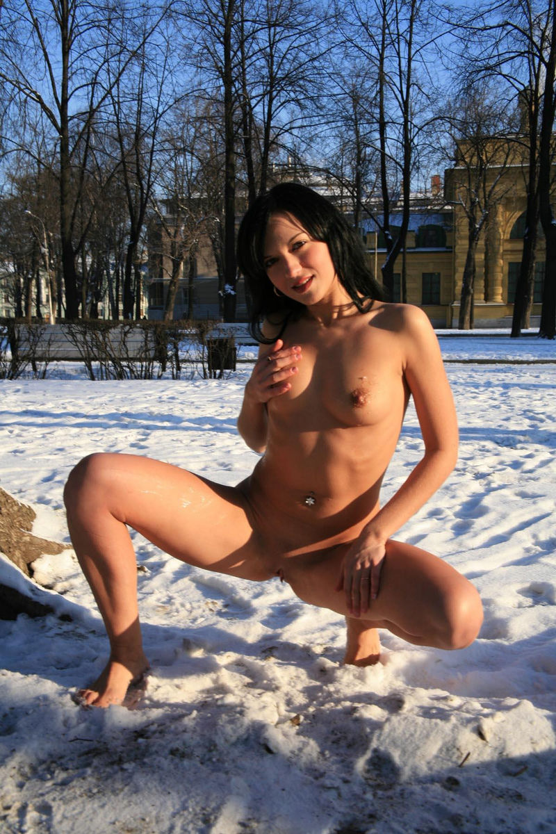 Russian Brunette Shows Hot Body At Winter City  Russian -9202