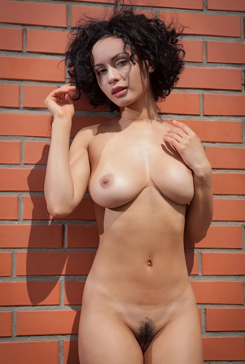 busty brunette pammie lee at a brick wall russian sexy girls