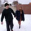 Busty blonde meets stranger at winter country