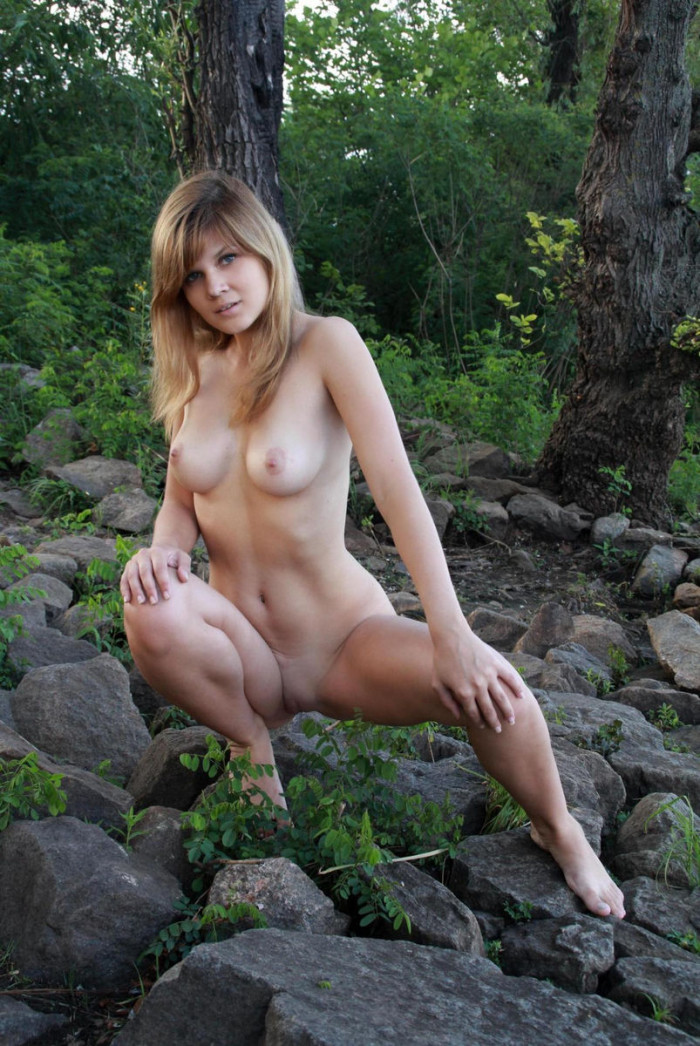 Teen Blonde Agni A With Perfect Boobs At Forest  Russian