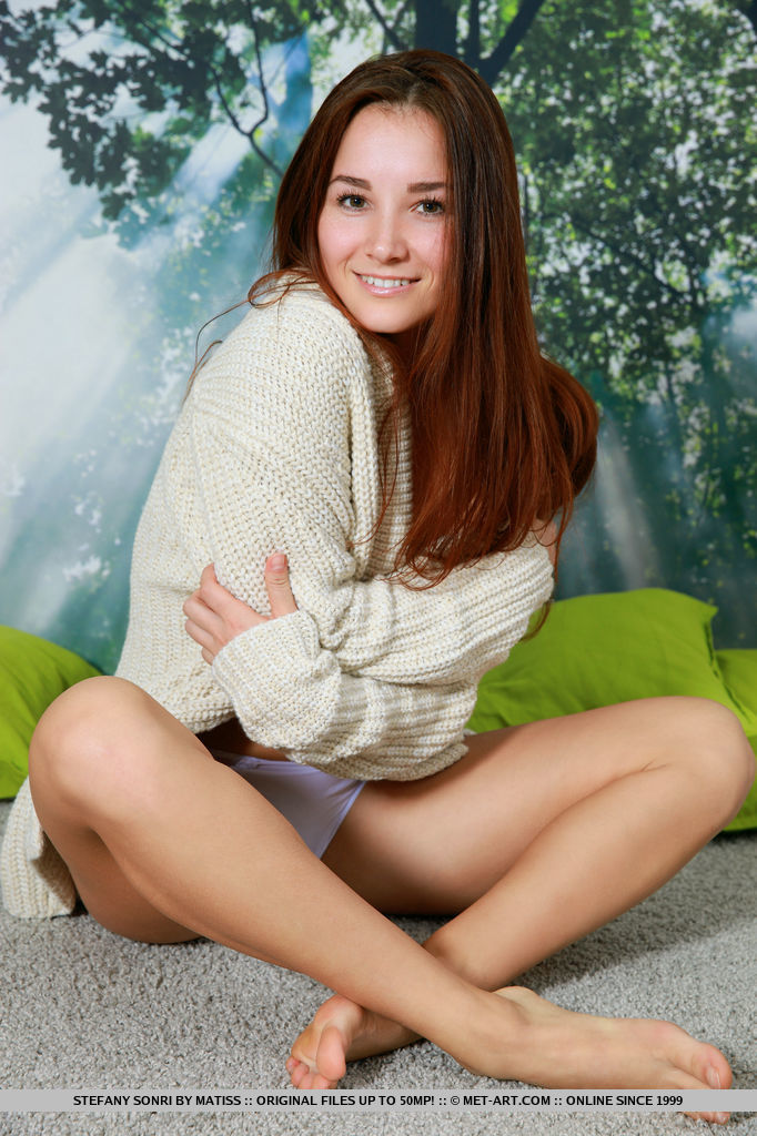 Newcomer Stefany Sonri bares her slender body with small tits and trimmed   pussy as she poses in front of the camera.