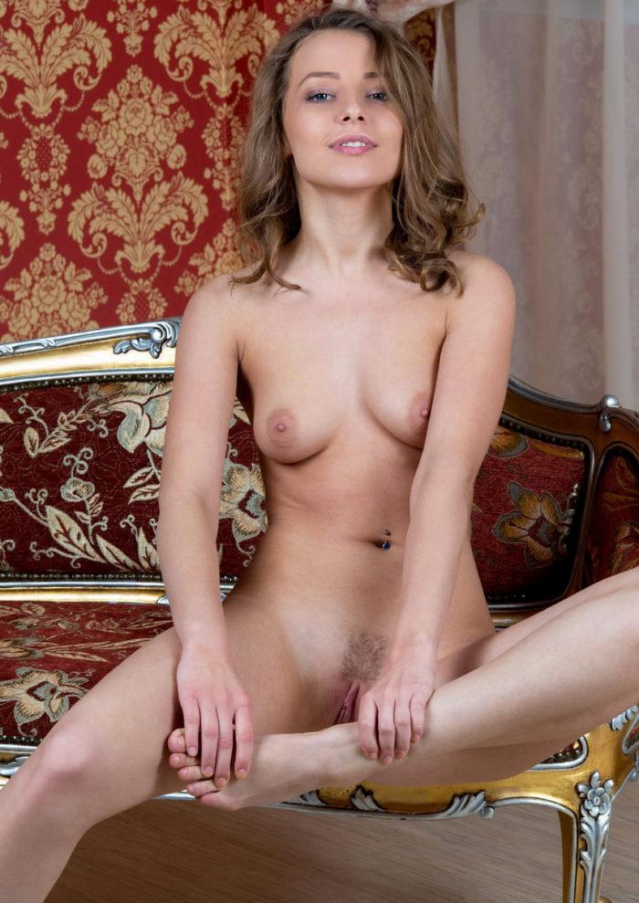 Nikia A takes off white thong with a smile
