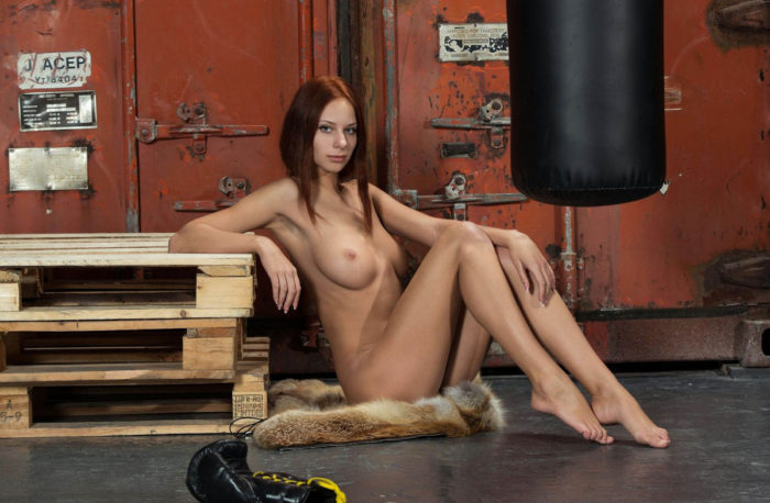 Red-haired boxer Lydia A with superb body