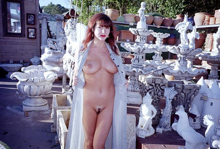 Retro photos of busty milf posing at garden market