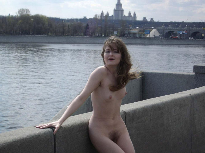 Russian exhibitionist wife at city center