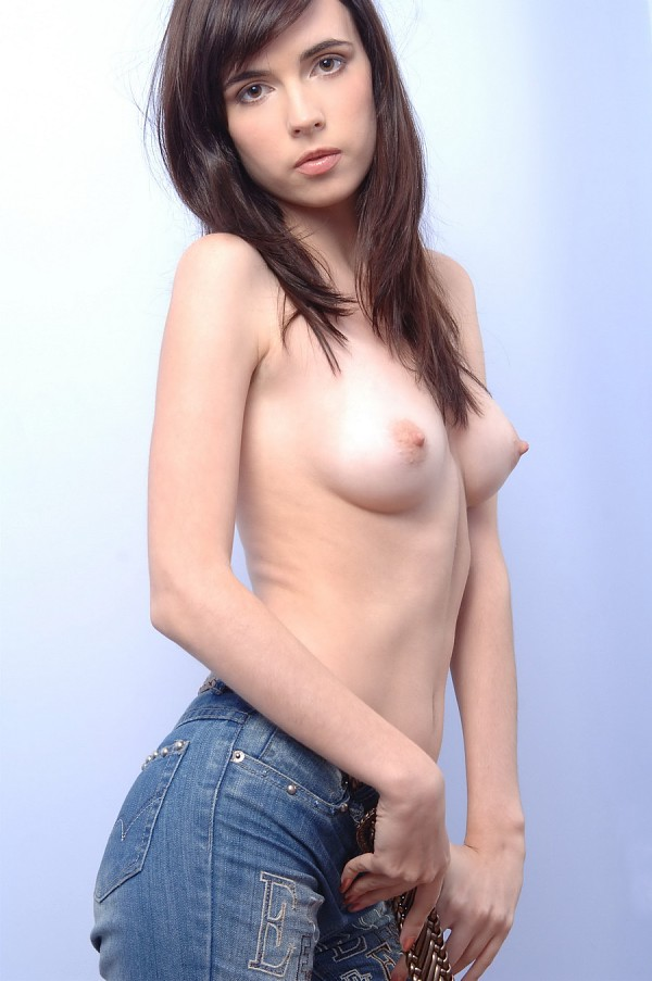 The chick Masha F in denim demonstrating furry honeypot