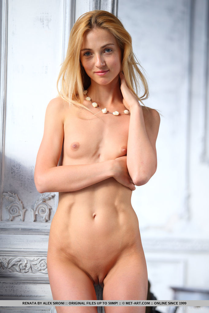 A blue-eyed cutie named Renata debuts in Metart, showing off her lean, slender body