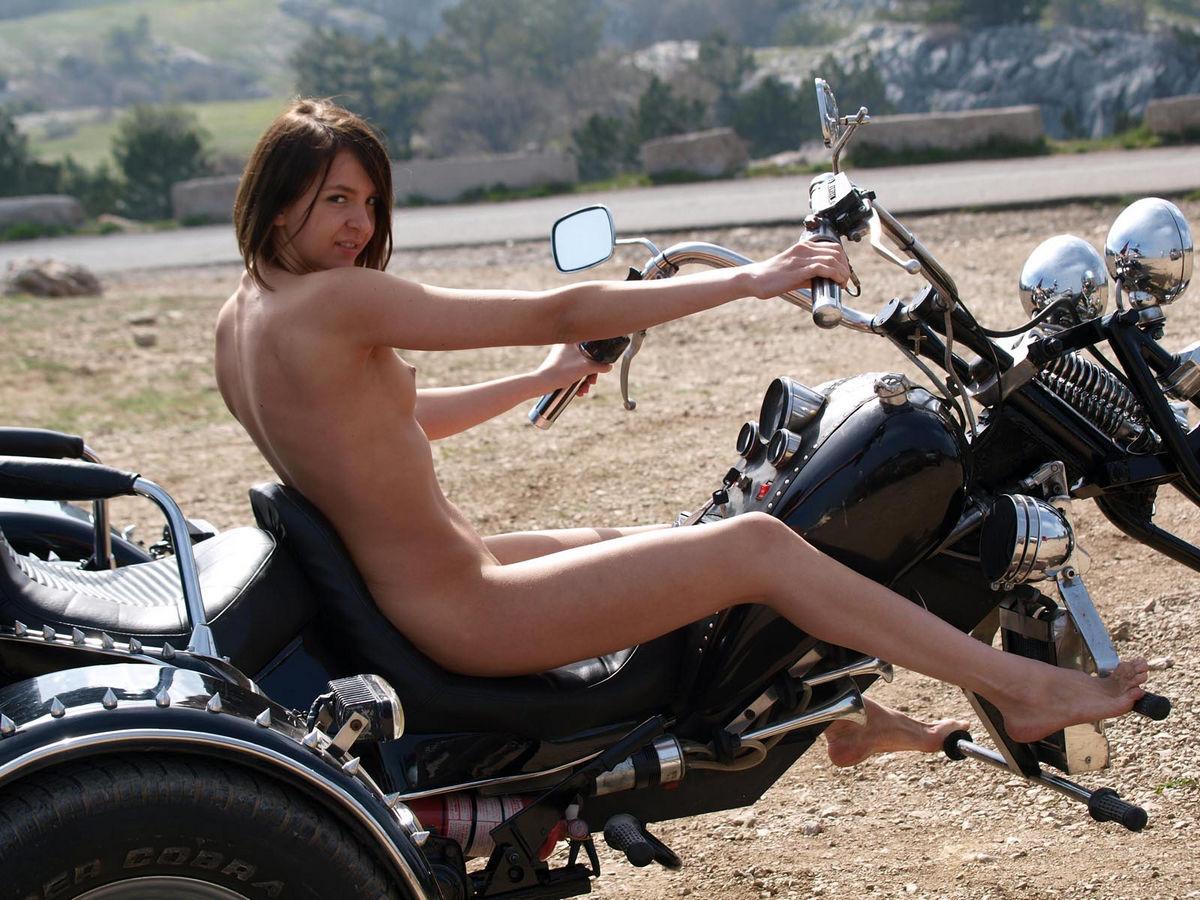 Nude girl posing on motorcycle idea useful