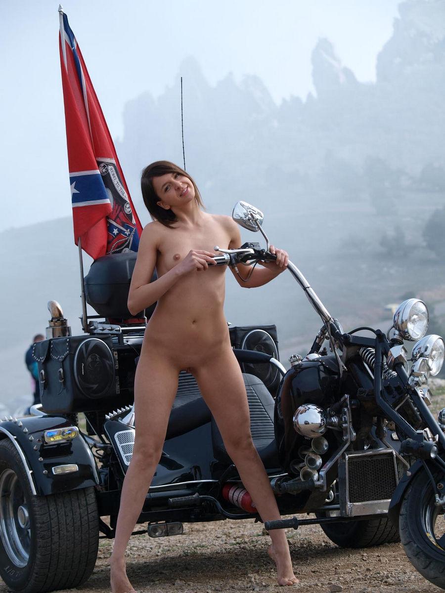 Effective? Nude girl posing on motorcycle consider