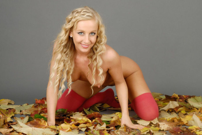Curly blonde at autumn session at studio