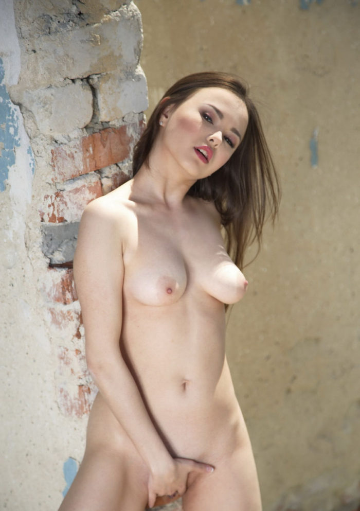 Model Li Moon in destroyed house