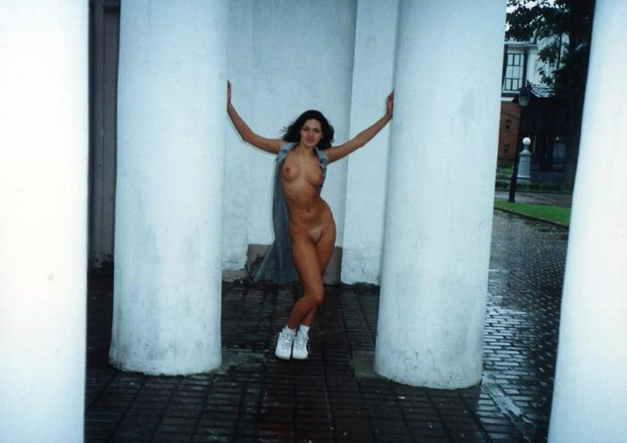 Old photos of curly brunette with really hot body